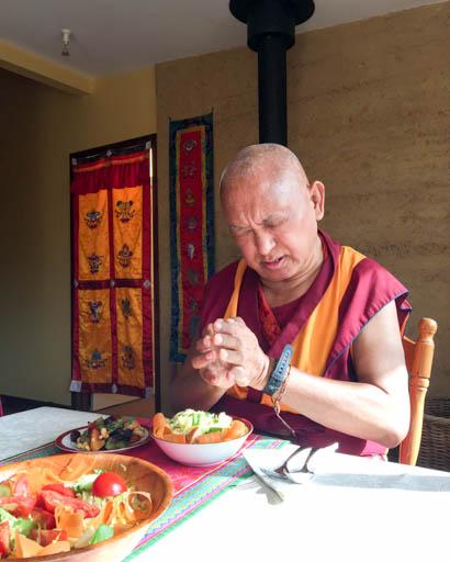 Lama Zopa Rinpoche having a meal, De-Tong Ling Retreat Centre, Kangaroo Island, Australia, May 2015. Photo by Ven. Thubten Kunsang.