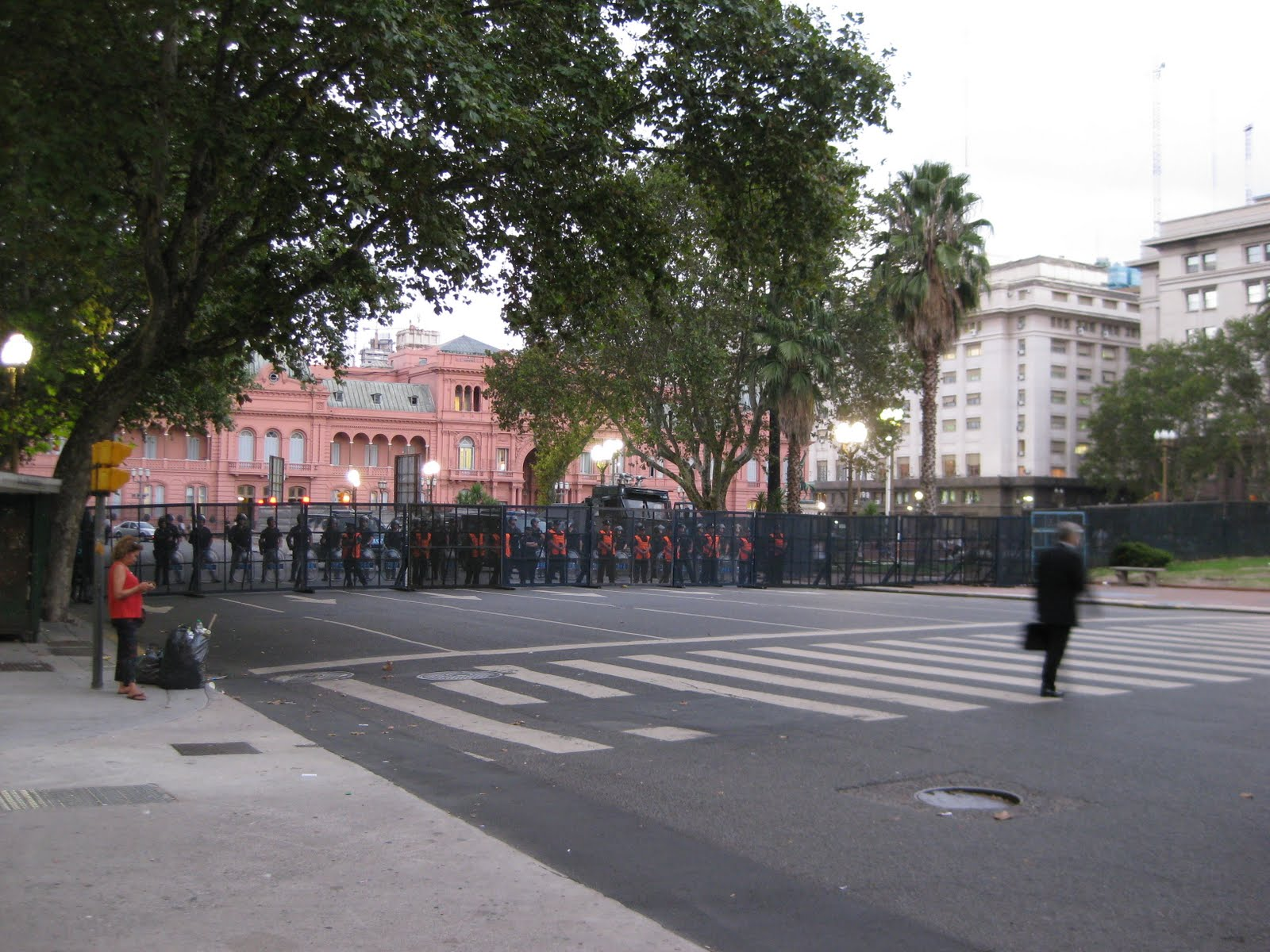 Barricades, ready for protesters (they were peaceful)
