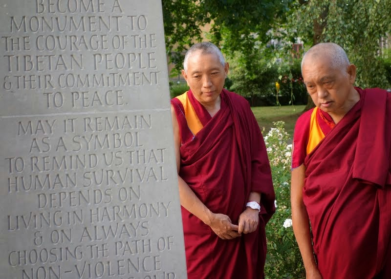 Lama Zopa Rinpoche with Geshe Tashi Tsering  at the Tibetan Peace Garden in London, UK, July 2014. Photo by Ven. Roger Kunsang.