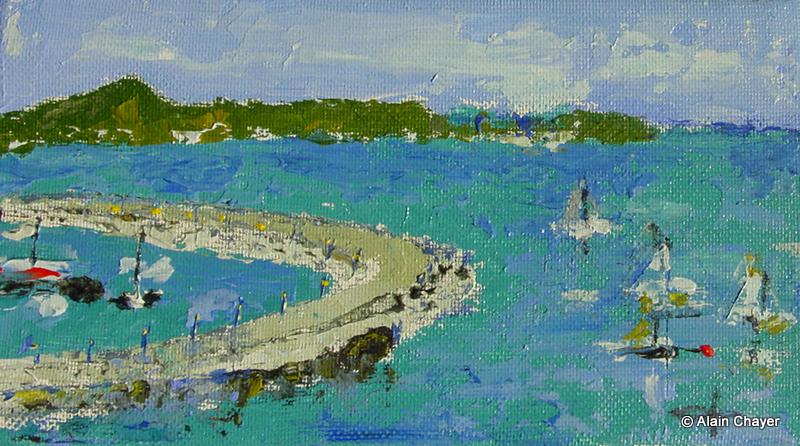 124 - Marina Fort Louis - 2003 18 x 10 - Huile sur toile