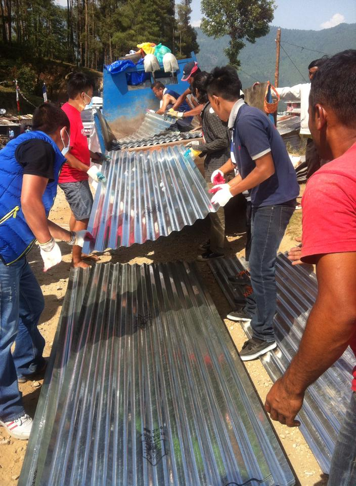 500 zinc sheets (for metal roofing) have been offered to families with no shelter. Photo courtesty of Namgyal Rinpoche Foundation.