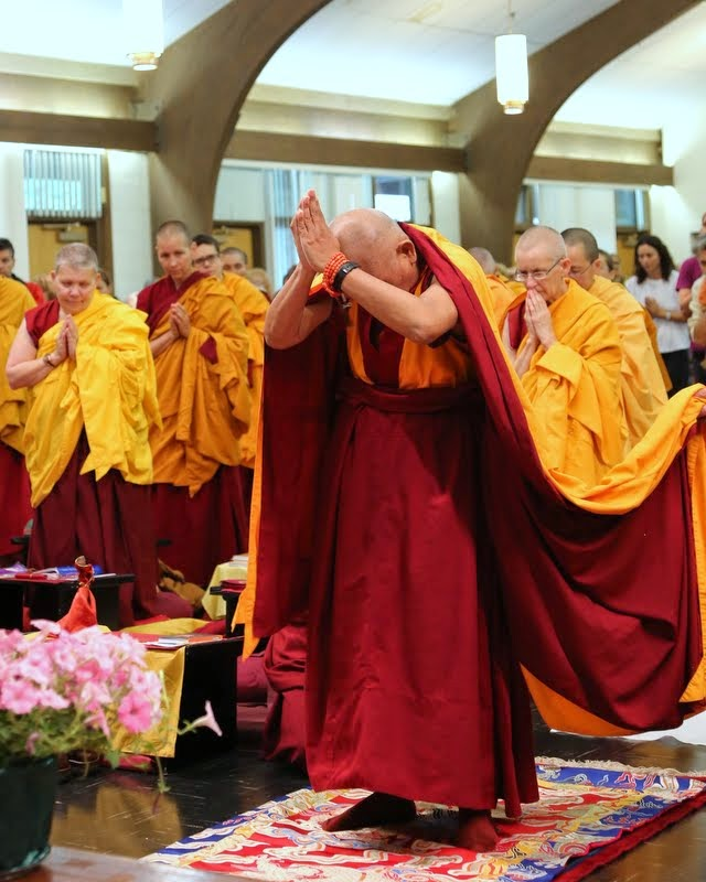Lama Zopa Rinpoche doing prostrations at Light of the Path retreat, North Carolina, US, May 2014. Photo by Ven. Thubten Kunsang.