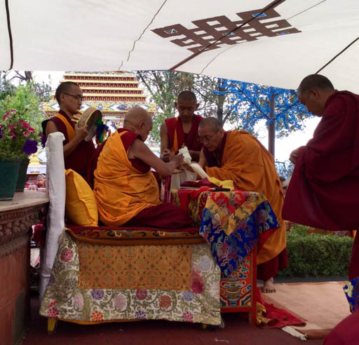 Lama Zopa Rinpoche doing a puja after the earthquake, Kopan Monastery, Nepal, April 2015. Photo by Ven. Sarah Thresher.