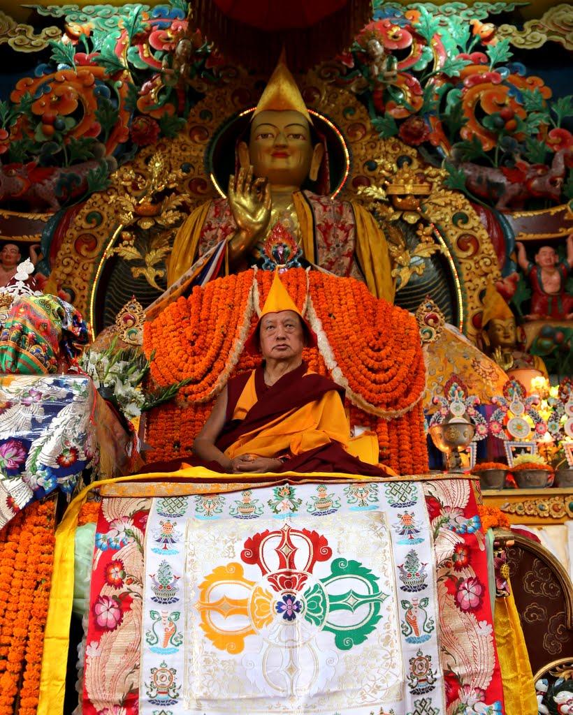 Lama Zopa Rinpoche at long life puja, Kopan Monastery, December 12, 2014. Photo by Ven. Thubten Kunsang.
