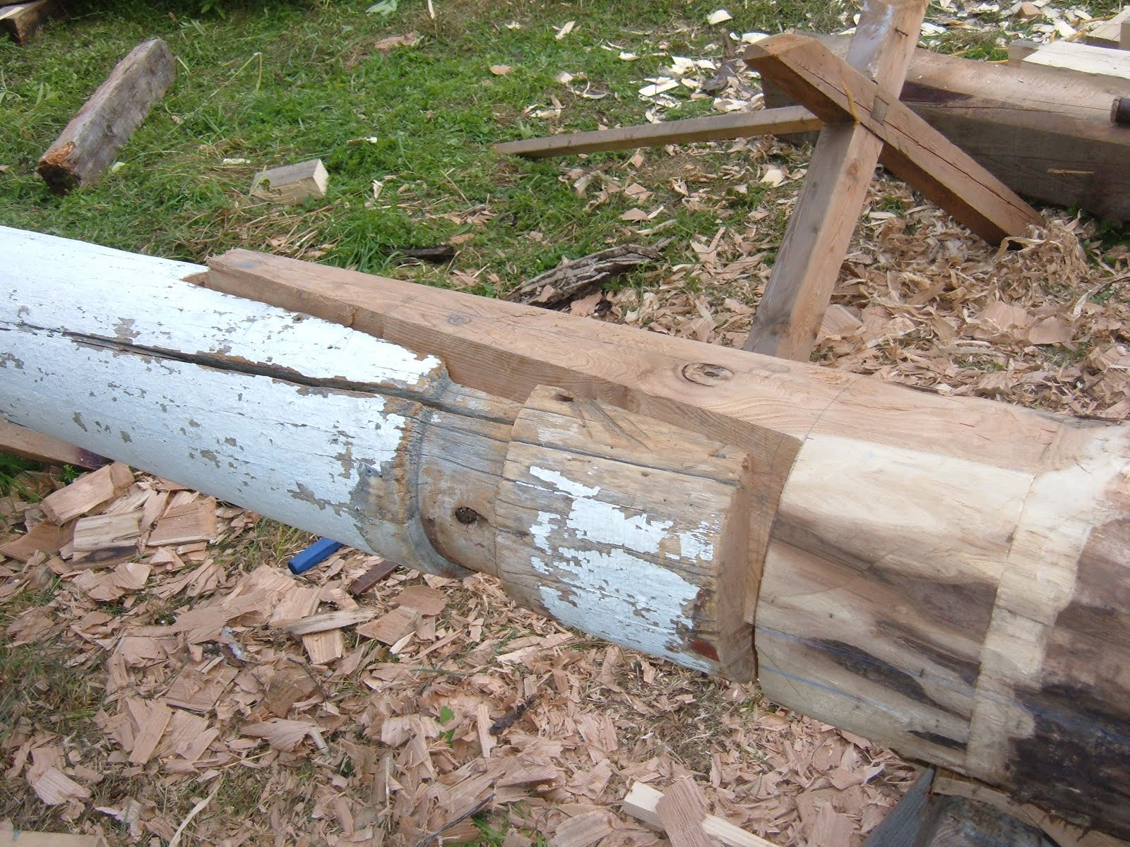 A new column base is test fitted to an old top.