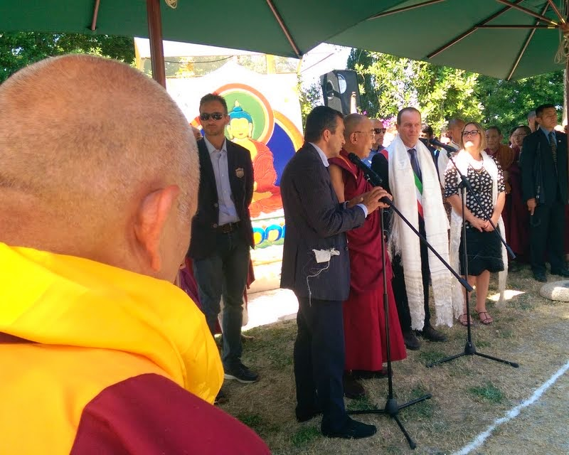 Lama Zopa Rinpoche listening to His Holiness the Dalai Lama speaking after his arrival at Istituto Lama Tzong Khapa, Pomaia, Italy, June 10, 2014. Photo by Ven. Roger Kunsang.