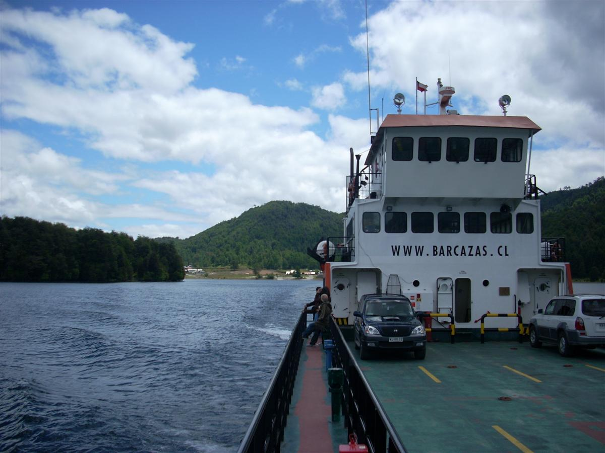 Ferry across Lagos Pirihueico - only two cars on this sailing