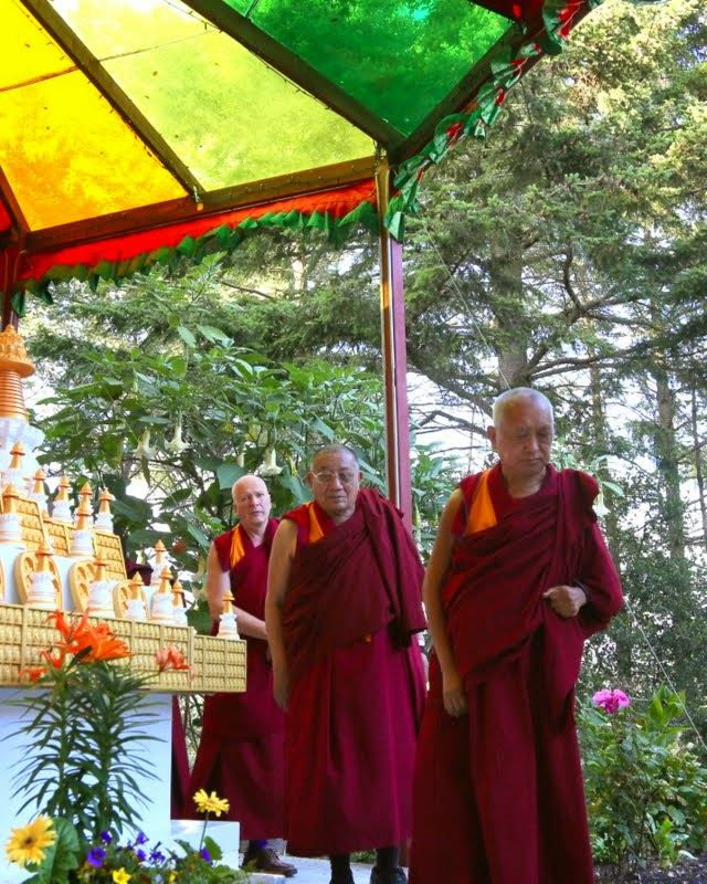 Lama Zopa Rinpoche with Geshe Dakpa and Ven. Steve Carlier, Kachoe Dechen Ling, Aptos, California, May 2014. Photo by Ven. Thubten Kunsang.