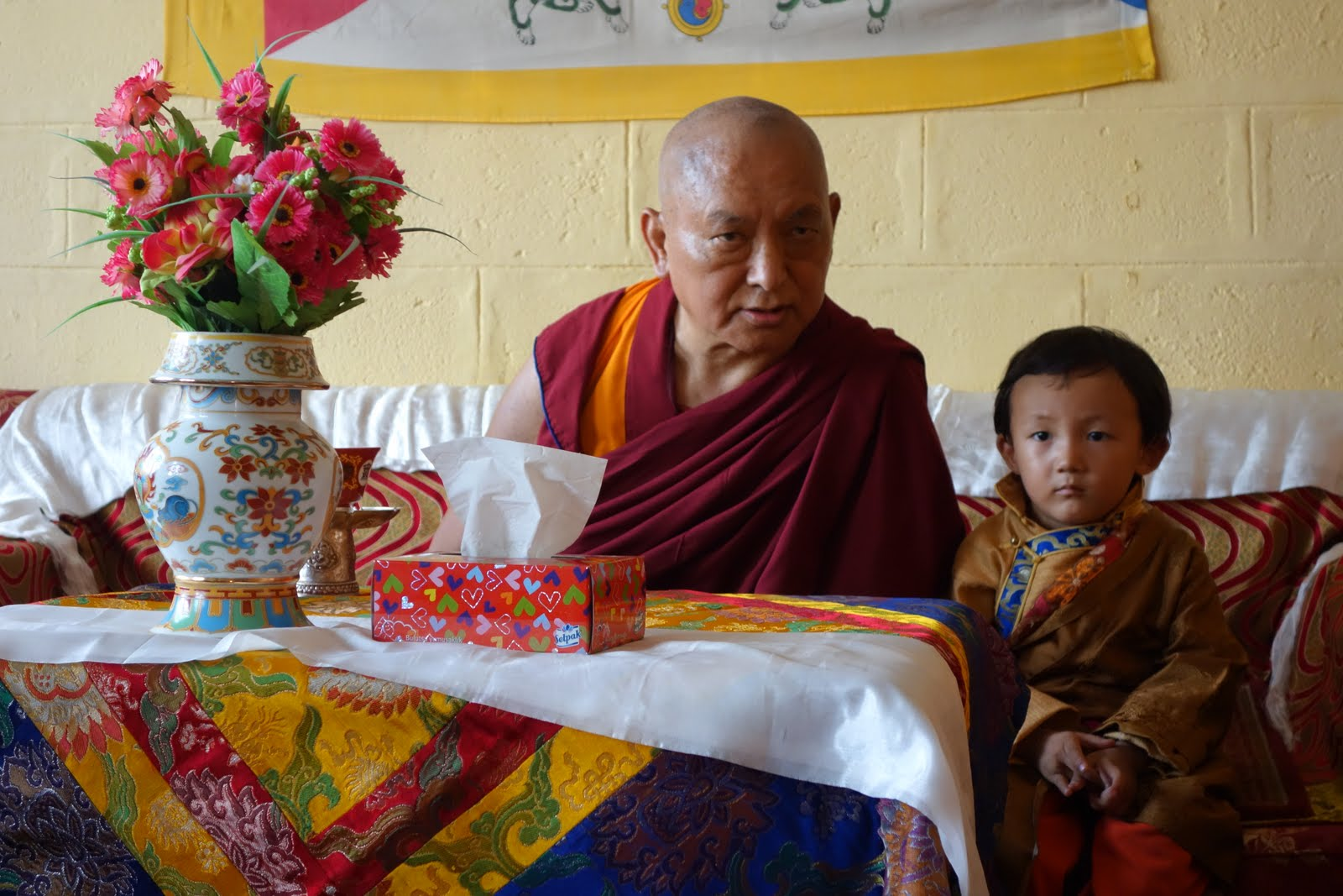 Rinpoche and a young lama at Kopan Nunnery. August 8, 2013 Photo: Ven.Roger Kunsang