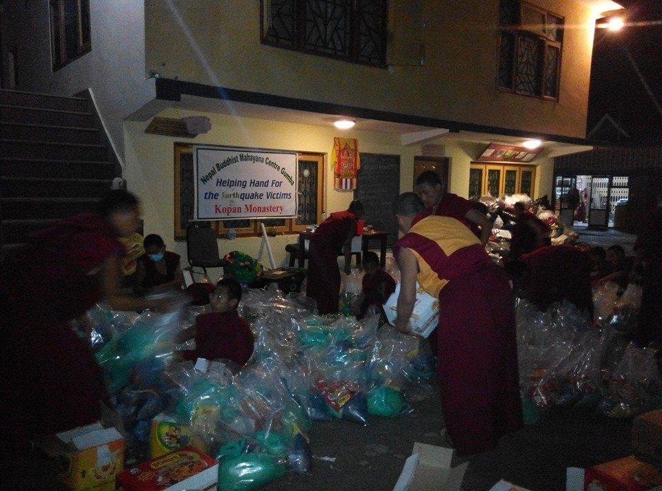 Kopan Helping Hands preparing aid packages.