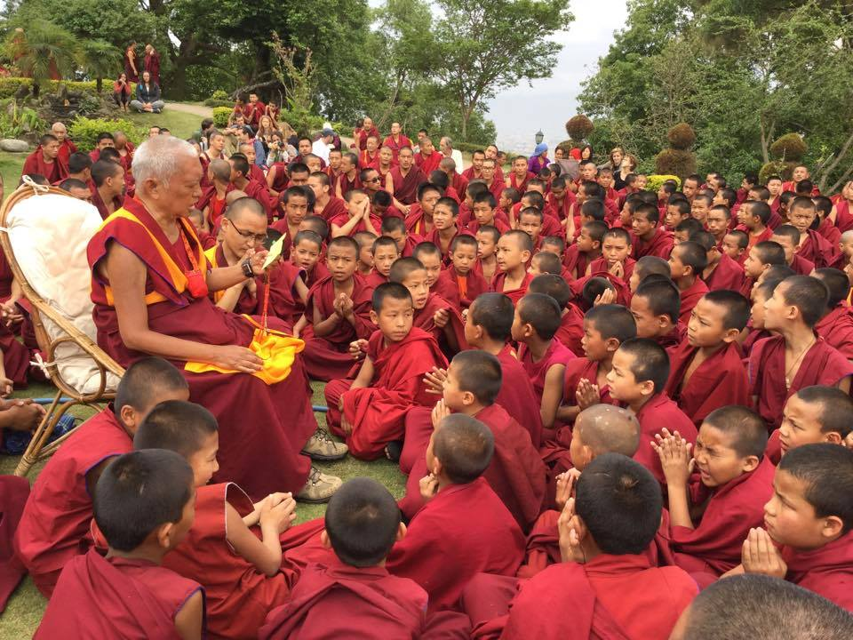Lama Zopa Rinpoche leading prayers for all those affected by earthquake. April 26, 2015