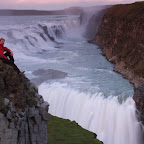Gullfoss powerfully crashing from its two levels into a narrow canyon