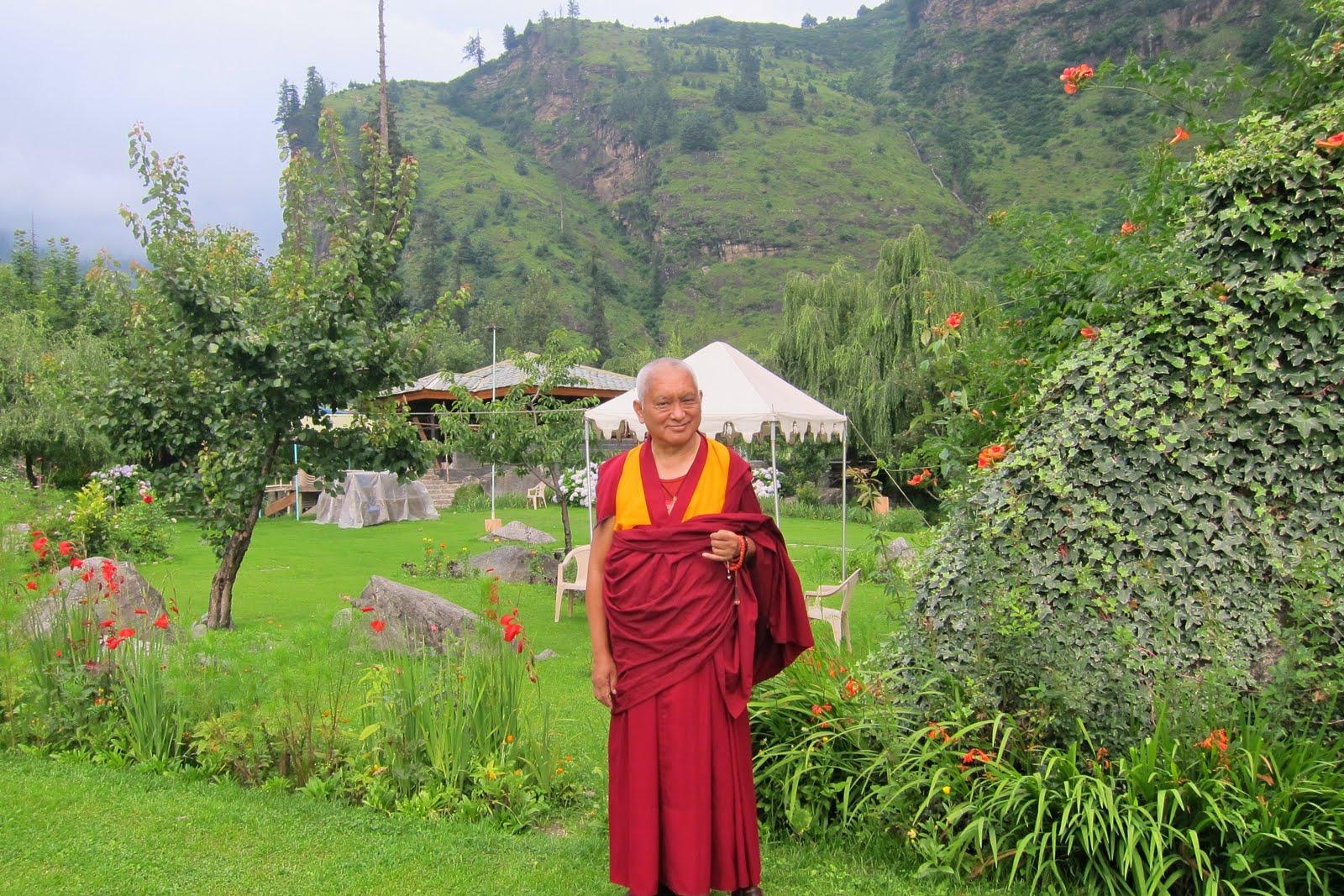 Rinpoche in Manali, India, enjoying the gardens. July, 2013. Photo Ven. Sarah Thresher