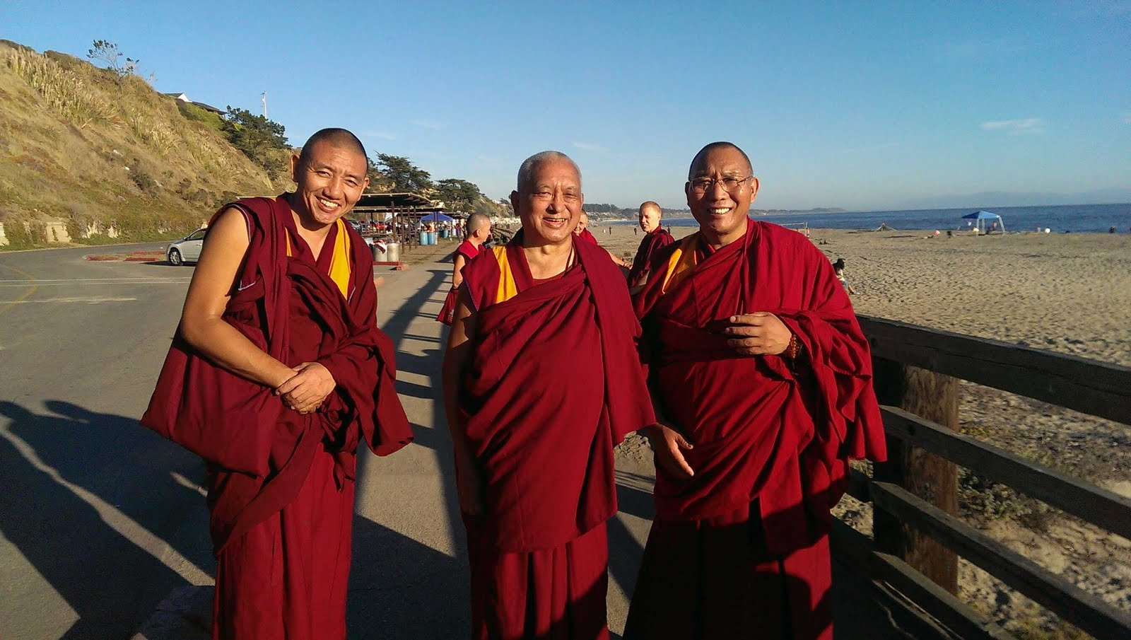 Tenzing Gyeltsen, Lama Zopa Rinpoche and Dagri Rinpoche going to the ocean to bless sentient beings, Aptos CA Oct 2013. Photo by Ven. Roger Kunsang