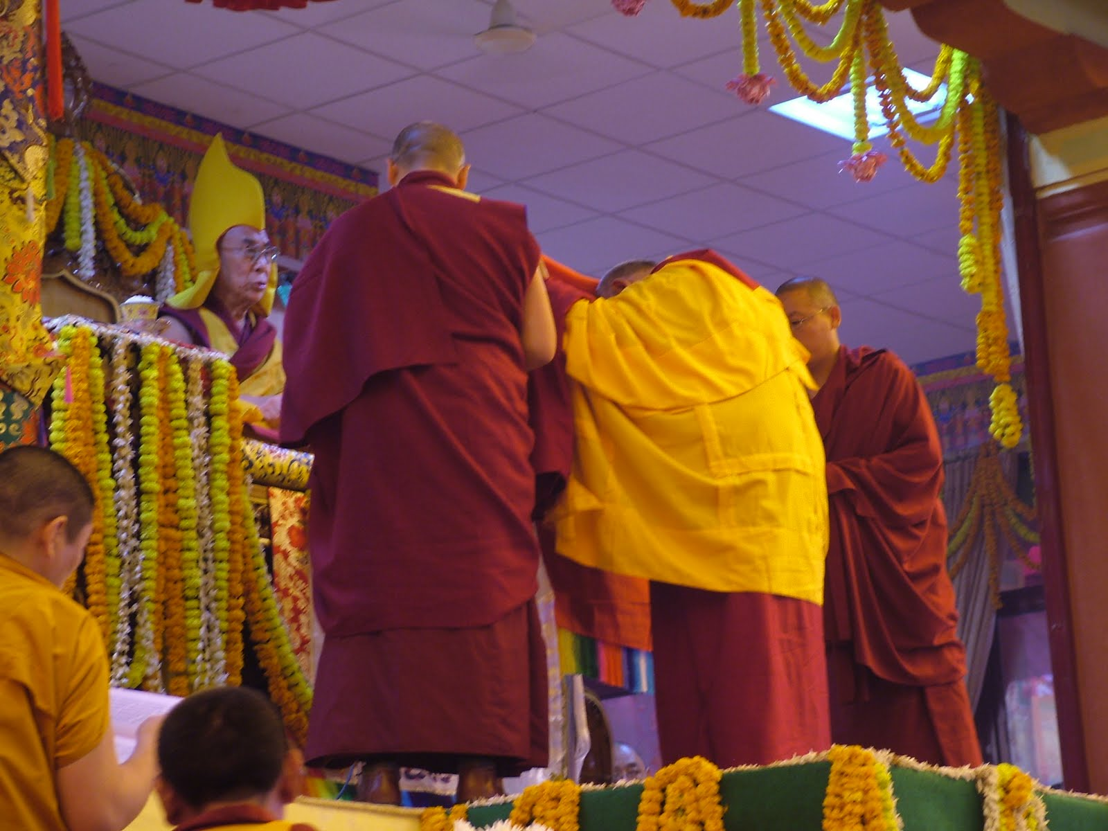 Lama Zopa Rinpoche offering during long life puja offered to His Holiness the Dalai Lama in Saranath January 2008.