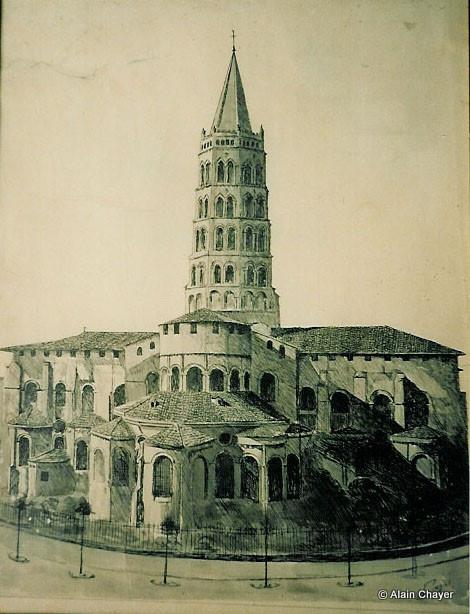001 - Basilique Saint-Sernin - 1954 65 x 50 Dessin à la plume. Encre de Chine