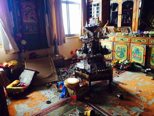 Lama Zopa Rinpoche's room at Kopan Monastery after the April 25 earthquake, Nepal, April 2015. Kopan Monastery experienced structural damage, but no loss of life. Photo by Ven. Sangpo Sherpa.