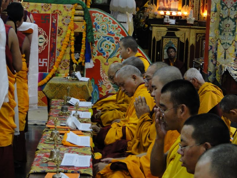 Lama Zopa Rinpoche and High Lamas during Wangya Norbu Tangwa initations