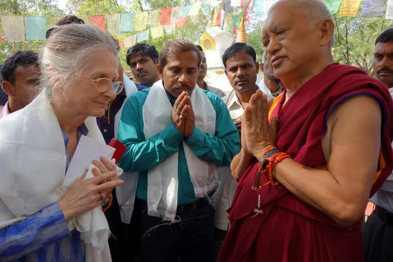 Rinpoche thanking Adriana and MAITRI staff, Bodhgaya, India, March 2014. Photo by Ven. Roger Kunsang.