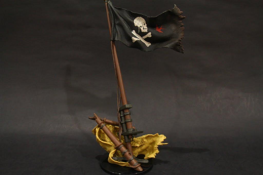 下部的帆布是軟材質, 但為啥上面的海盜旗竟然是硬的!!