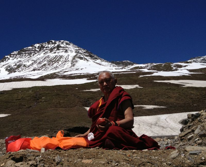 Rinpoche enjoying mountains on the way to Manali, India, July 28, 013. Photo. Ven. Sangpo Sherpa.