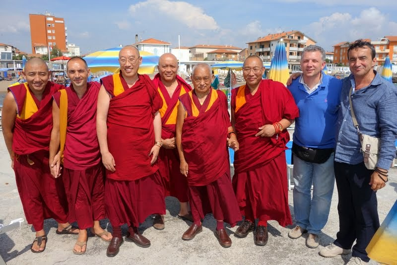 From left, Ven. Tenzin (Dagri Rinpoche's attendant), Ven. Oliver, Geshe Gelek, Geshe Tenpel, Lama Zopa Rinpoche, Dagri Rinpoche, Filippo Scianna, Frabrizio Pallotti, Italy, June 18, 2014. Photo by Ven. Roger Kunsang.