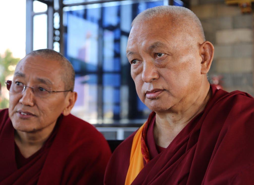 Lama Zopa Rinpoche with Kopan abbot Khen Rinpoche Geshe Chonyi, Nepal, December 2014. Photo by Ven. Thubten Kunsang.