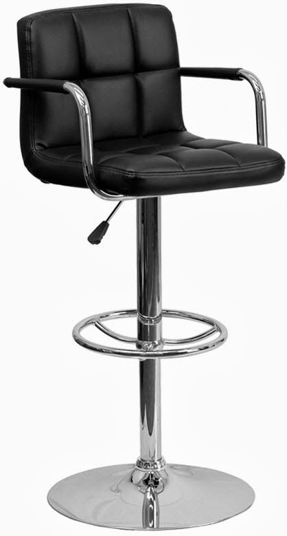 FLASH CH-102029-BK-GG CONTEMPORARY BLACK QUILTED VINYL ADJUSTABLE HEIGHT BAR STOOL WITH ARMS AND CHROME BASE