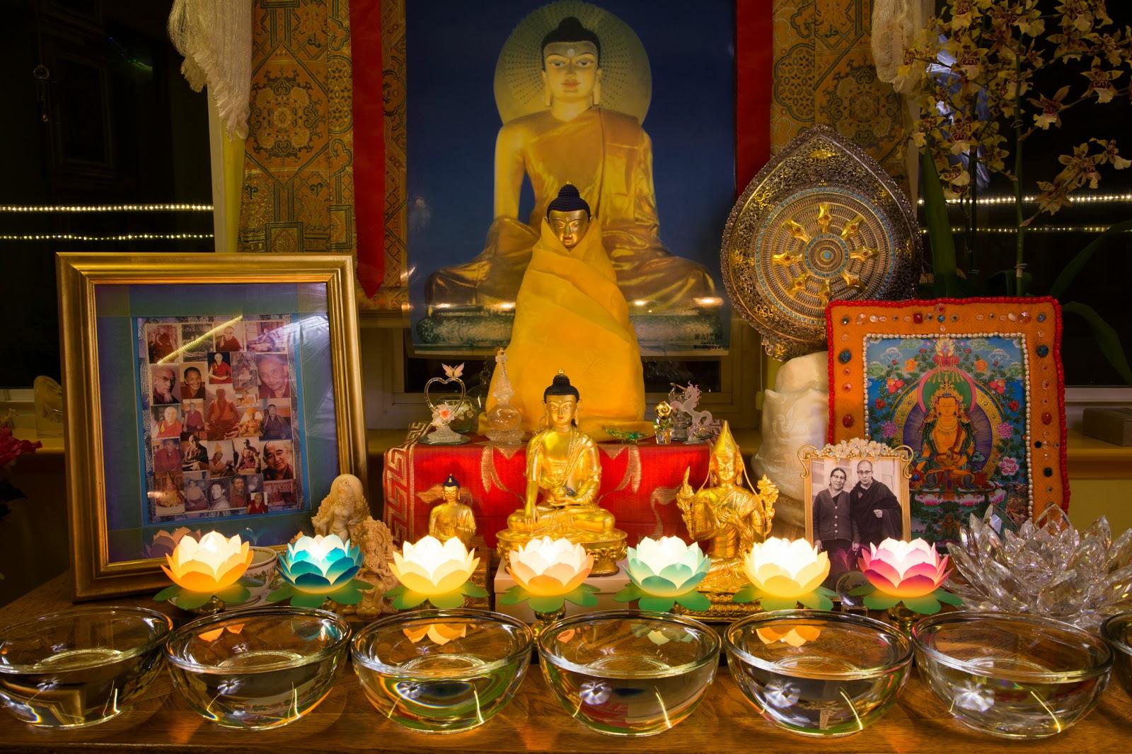 Altar in the Prajnaparamita room. Photo by Ven. Thubten Kunsang.