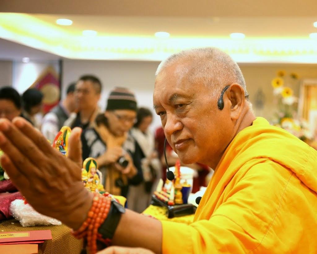 Lama Zopa Rinpoche after opening ceremony at Jinsiu Farlin, Taipei, Taiwan, April 2014. Photo by Ven. Thubten Kunsang.