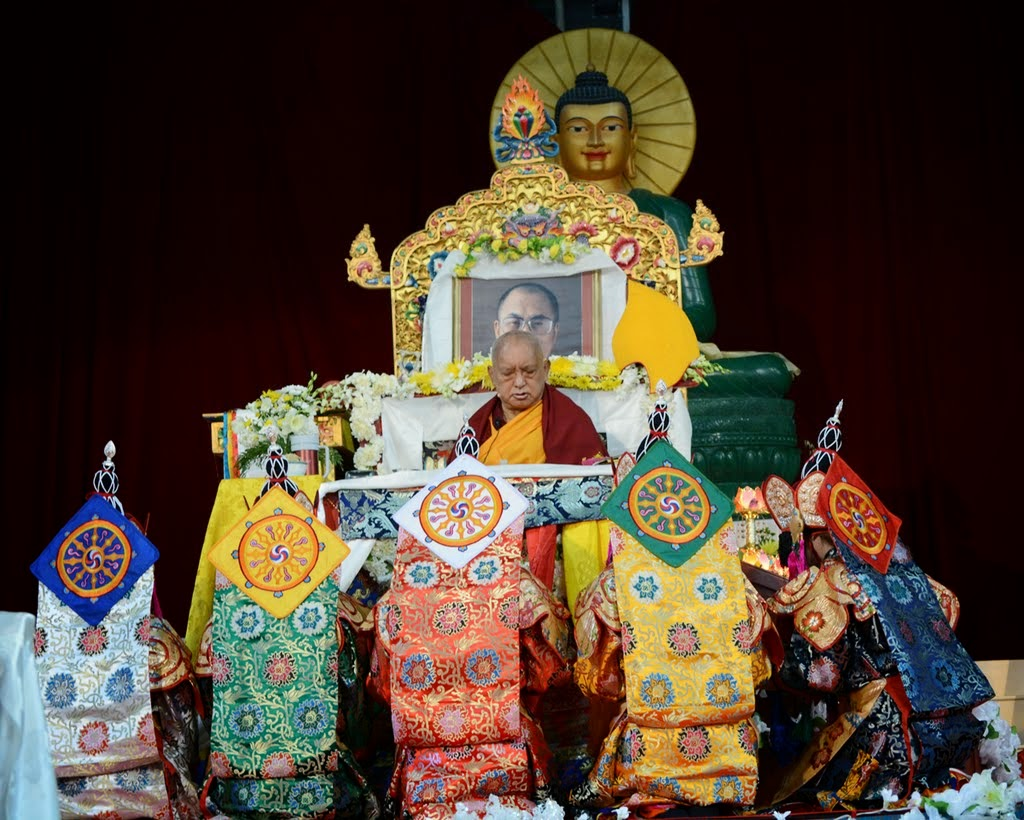 Lama Zopa Rinopche and the five dakinis during the long life puja offered during CPMT 2014, Australia, September 2014. Photo by Kunchok Gyaltsen.