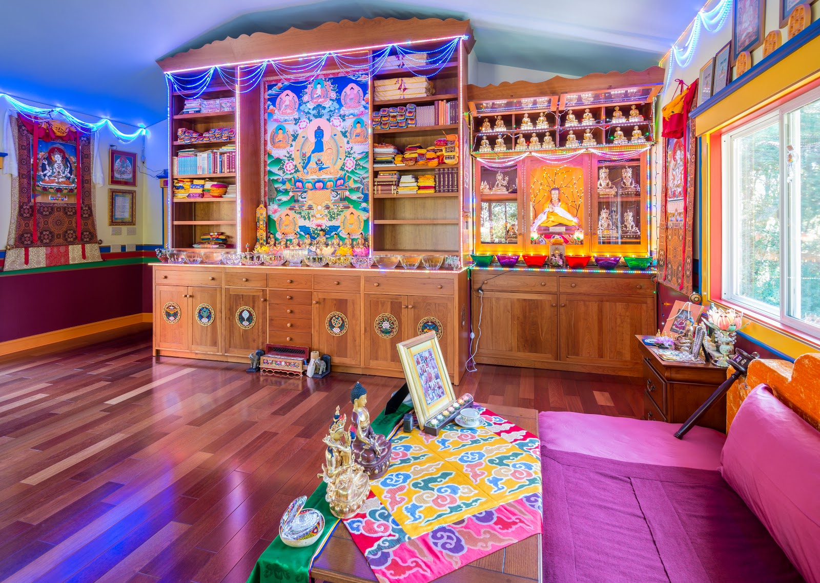 Holy objects and extensive offerings at Kachoe Dechen Ling Photo by Chris Majors.