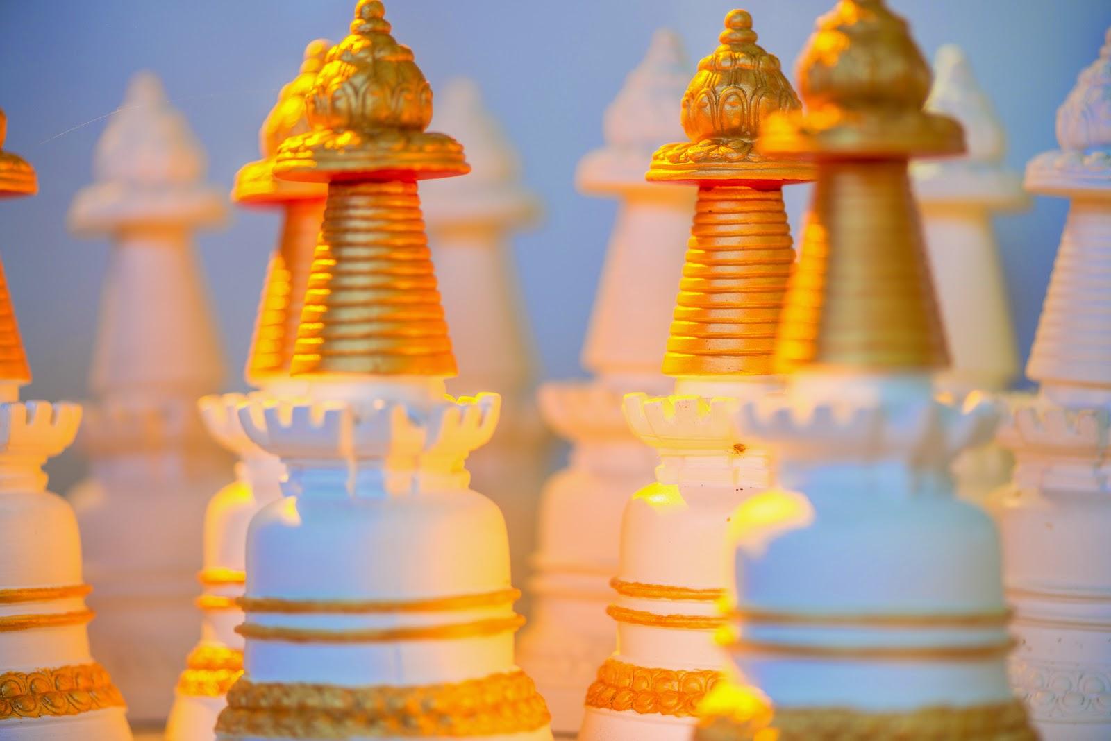 Beautiful stupas at Kachoe Dechen Ling. Photo by Chris Majors.