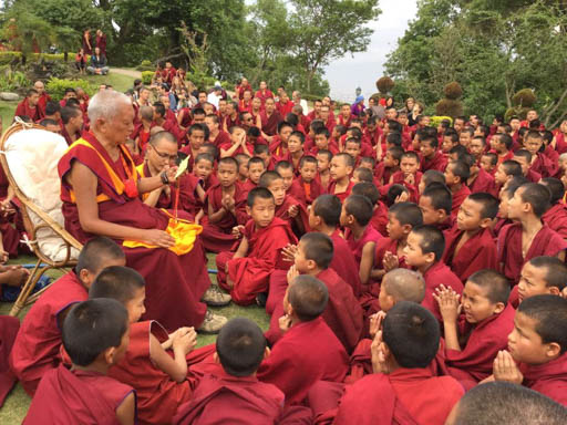 Lama Zopa Rinpoche led prayers and gave oral transmissions to young monks and Western visitors after the earthquake, Kopan Monastery, Nepal, April 2015. Photo by Ven. Sarah Thresher.