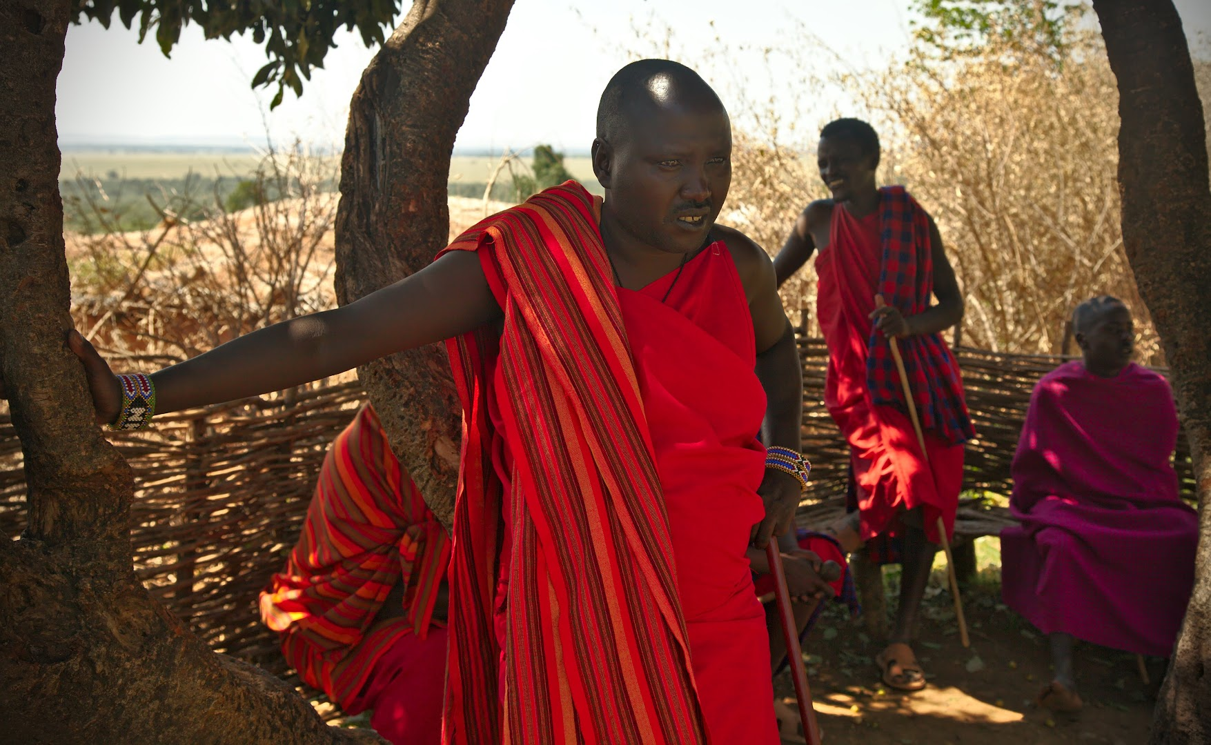 Masai men resting during the mid-day heat