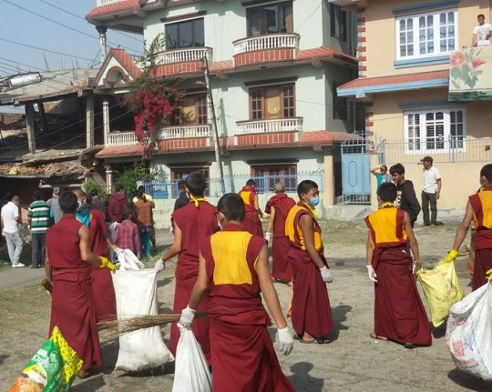 Kopan monks involved in efforts to clean up areas to prevent the spread of disease after the earthquake, Kathmandu, Nepal, May 1, 2015. Photo from Kopan Monastery School.