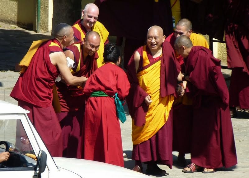Khadro-la greeting Lama Zopa Rinpoche, Sera Monastery, December 24, 2013. Photo by Melissa Mouldin.
