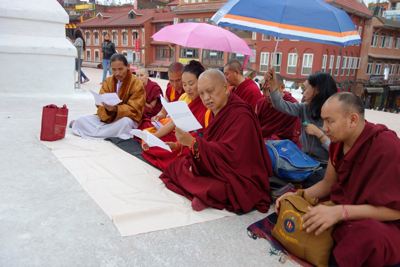 Rinpoche, Khadro-la and others did special prayers for world peace at Bouddha Stupa today. Rinpoche put together the collection of prayers to stop wars, prevent natural disasters, environmental disasters, etc. And to reduce self cherishing. Photo by Ven. Roger Kunsang.