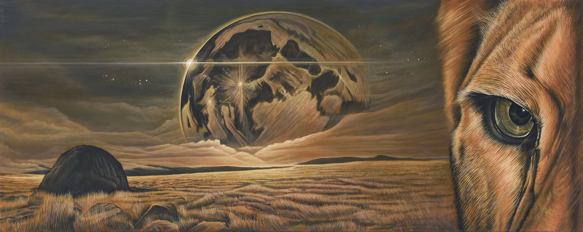 Der Blick in dich in die neue Welt 2015 Oel auf Leinwand 150 x 60 cm