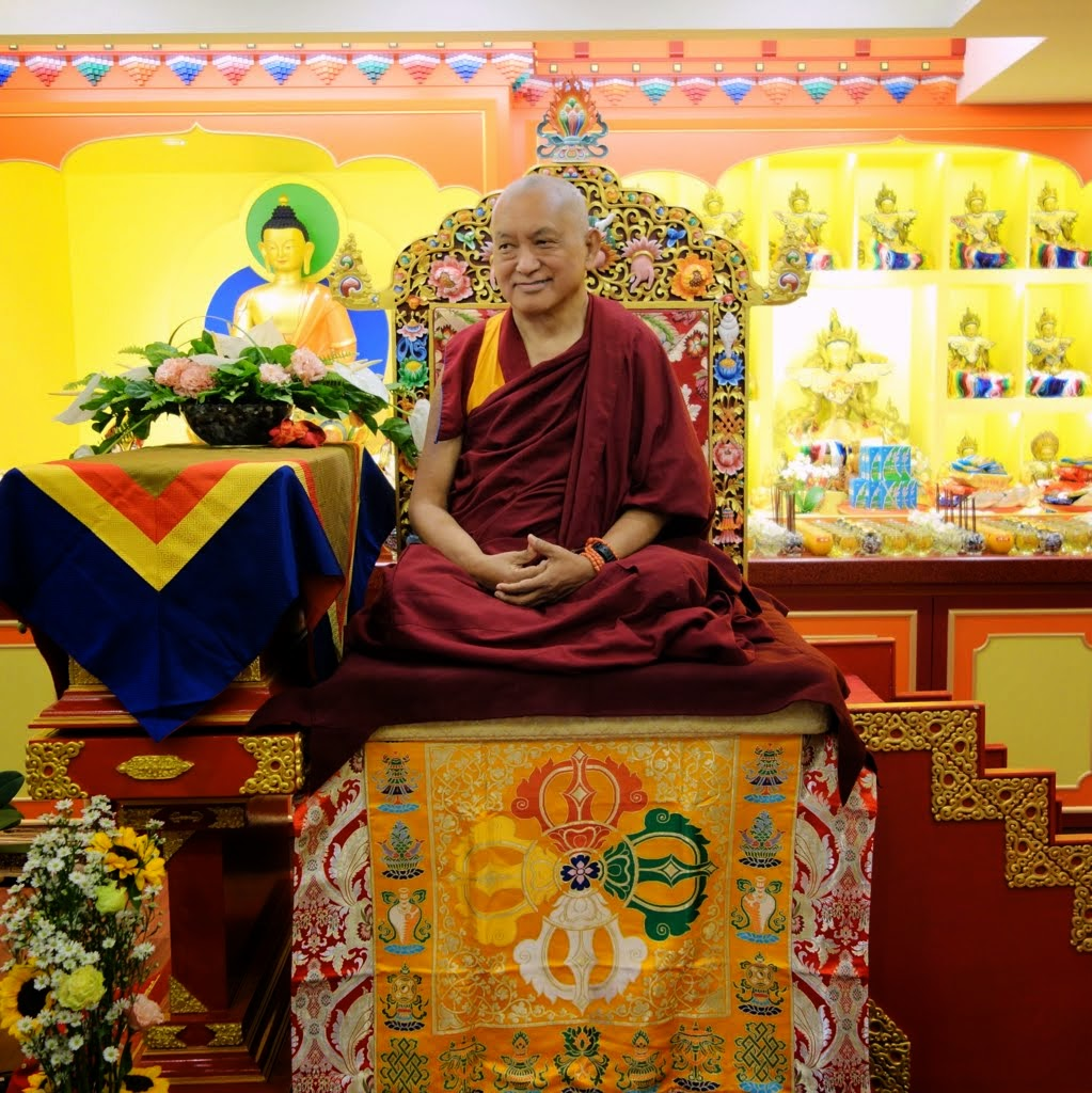 Lama Zopa Rinpoche on the throne at the Jinsiu Farlin in Taipei, Taiwan, March 2014. Photo by Ven. Roger Kunsang. The center is 23 years old and was the first FPMT center in Taiwan.