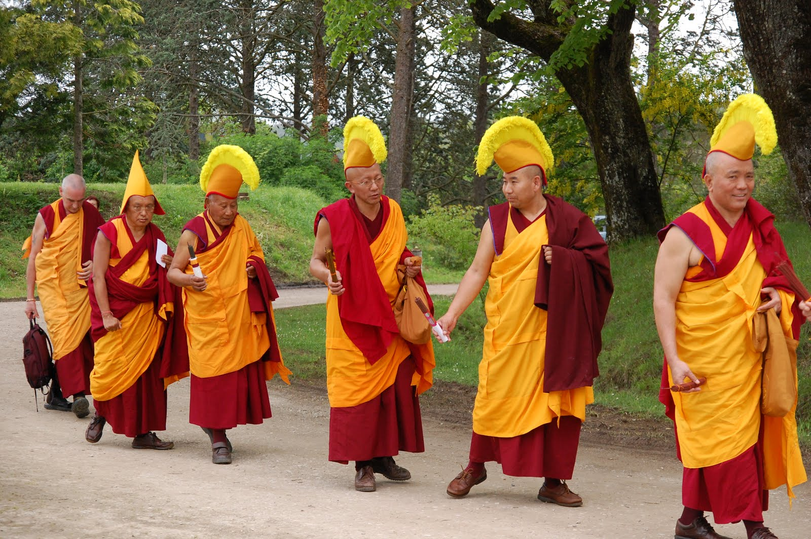 Procession with Geshes for long Life puja offered to Lama Zopa Rinpoche after the CPMT Meeting at Institut Vajra Yogini, France, May 2009.