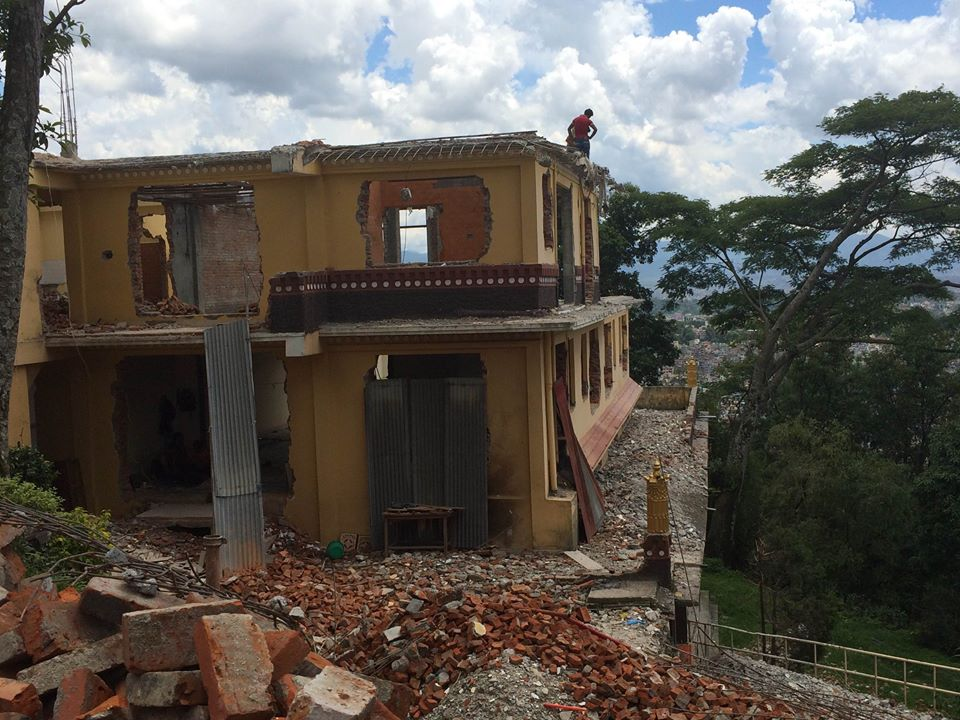 Chenrezig Gompa under preliminary demolition before renovations begin. Kopan Monastery, September, 2015.