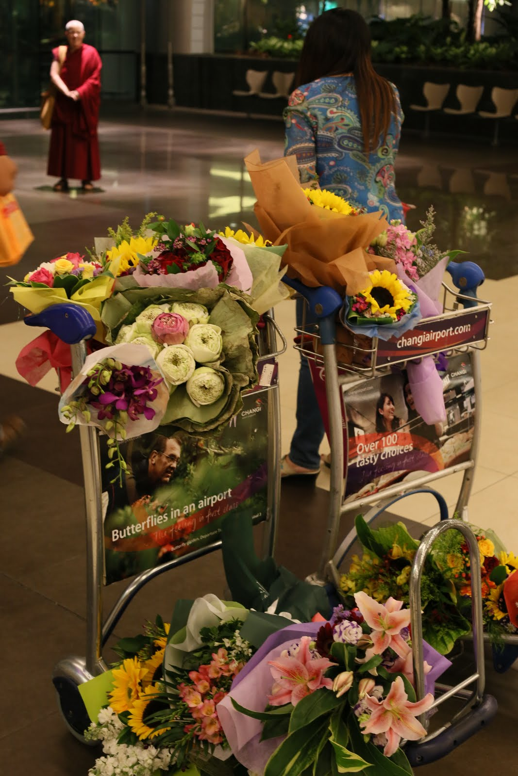 Flowers for Rinpoche's arrival to Singapore.