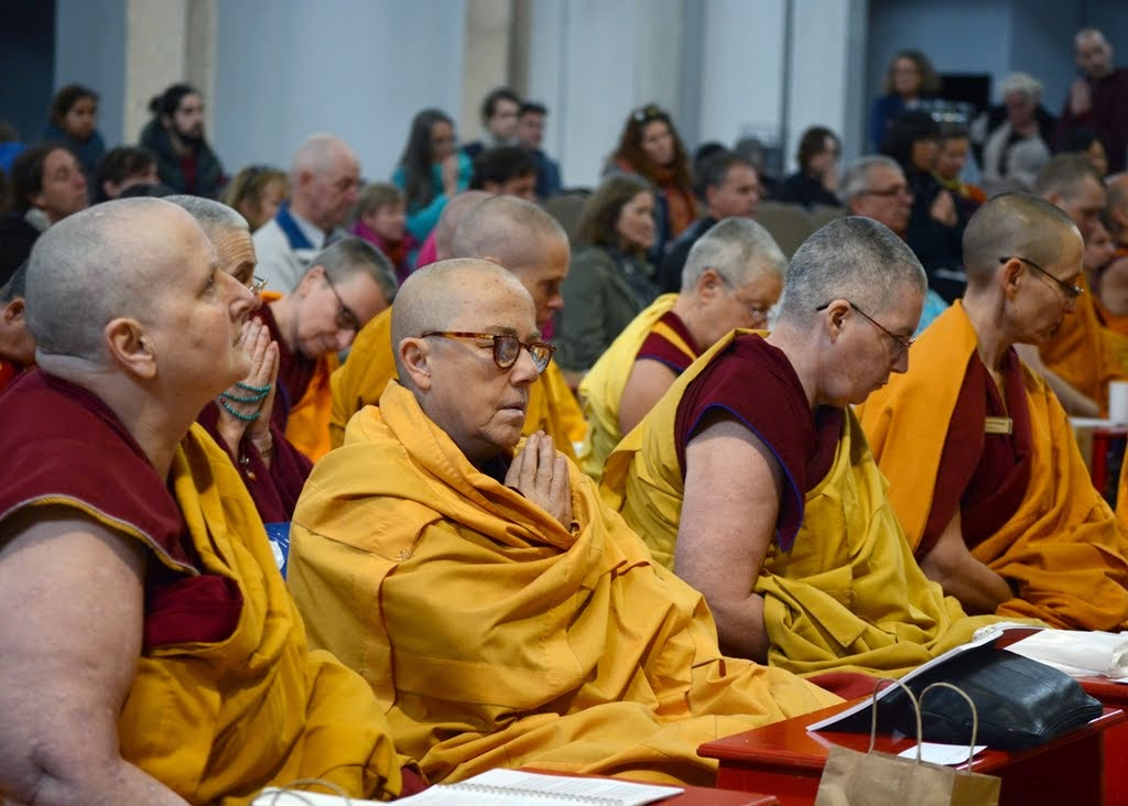 Sangha and lay students listen intently as the praises for Lama Zopa Rinpoche are read during the long life puja, Australia, September 2014. Photo by Kunchok Gyaltsen.