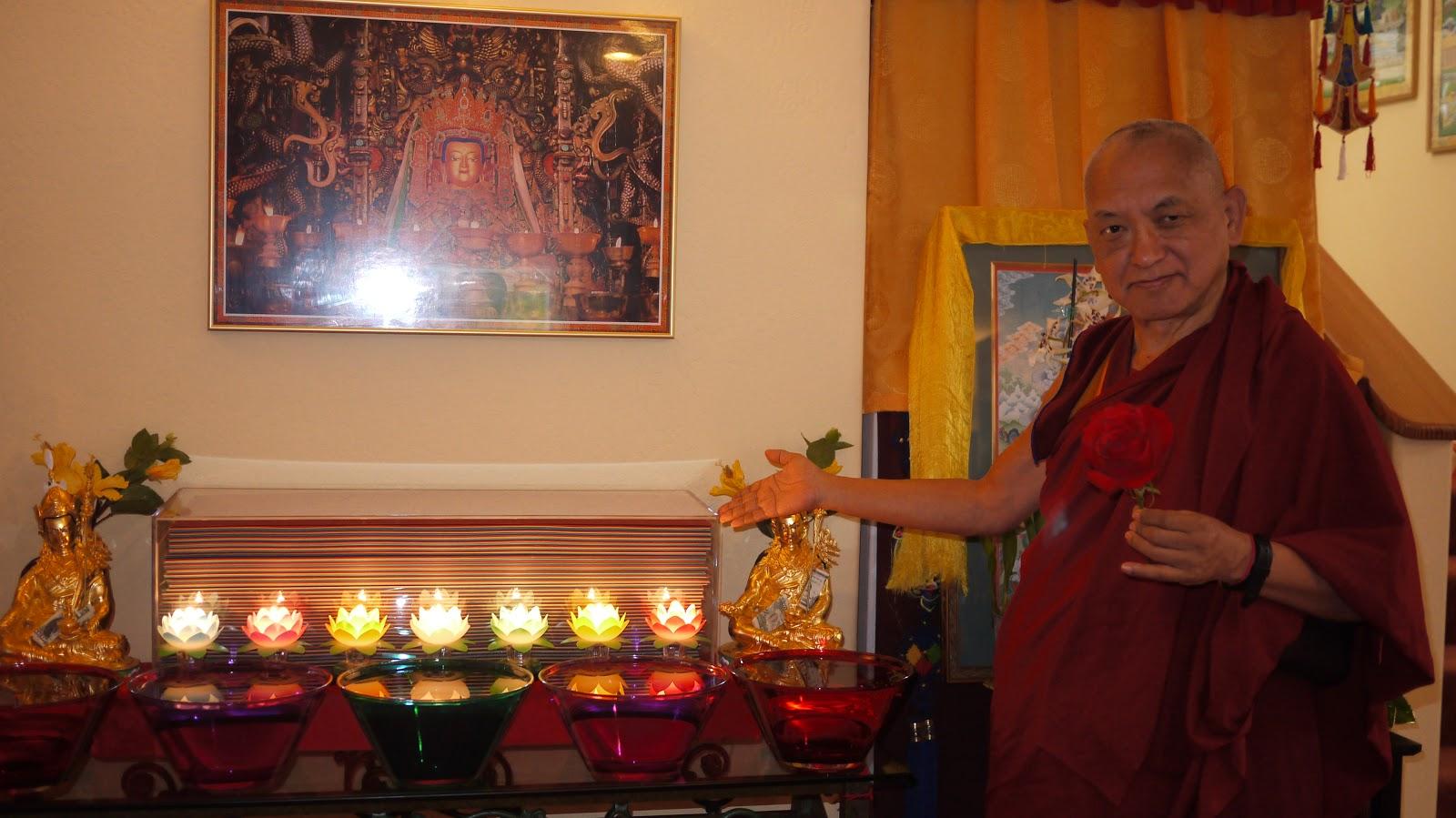 Offerings made at Kachoe Dechen Ling in front of Prajnaparamita