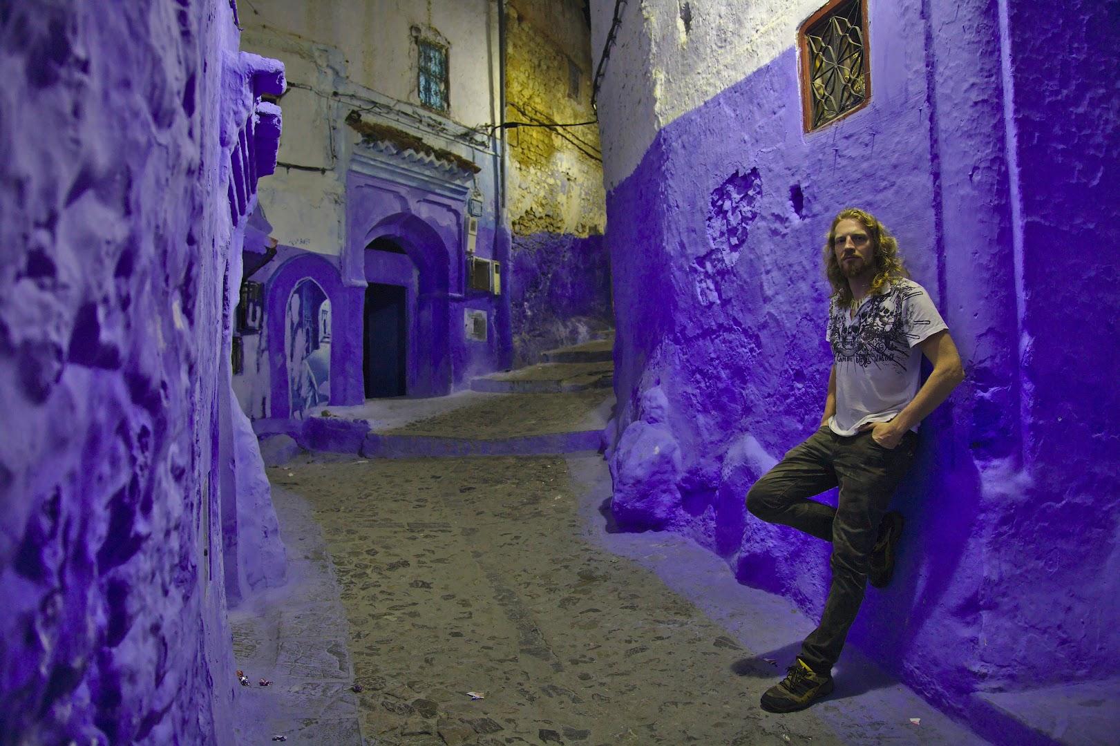 By night the Blue City looks purple