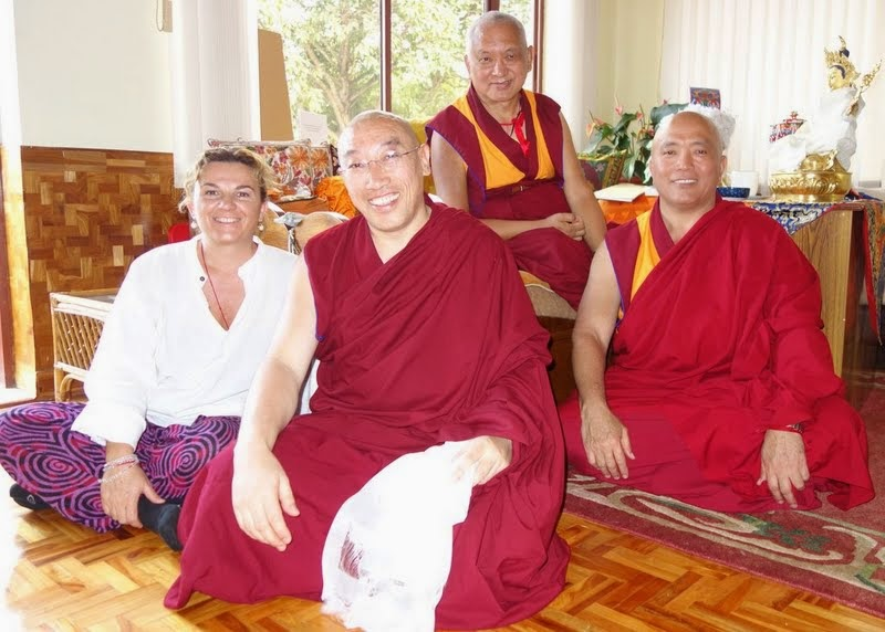 Lama Zopa Rinpoche with Geshe Jampa Gelek and Geshe Tenzin Tenphel (right), the resident geshes at Istituto Lama Tzong Khapa in Italy, and Lara Gatto, the national coordinator for the FPMT Italian National Office; Sera Je Monastery, India, January 2014. Photo by Ven. Roger Kunsang