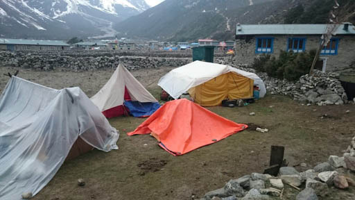 Emergency shelters at Thame, Solu Kumbu, Nepal, May 2015. Photo courtesy of Charok Lama.