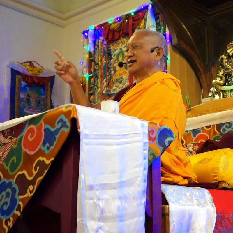 Lama Zopa Rinpoche teaching before the Five Heruka Deities initiations at Jamyang Buddhist Centre, London, UK, July 2014. Photo by Ven. Roger Kunsang.