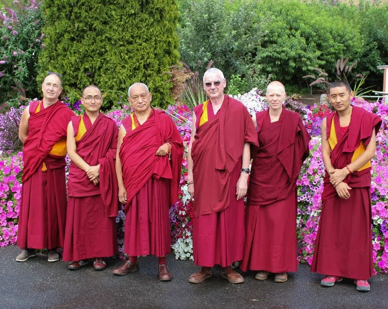 Lama Zopa Rinpoche with (from left) Vens. Thubten Kunsang, Sherab, Roger Kunsang, Holly Ansett and Sangpo, Washington, US, July 2014